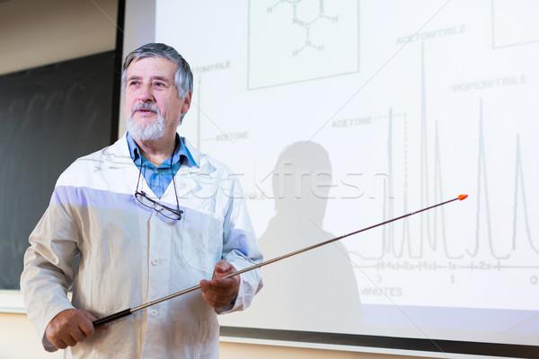 Senior chemistry professor giving a lecture Stock photo © lightpoet