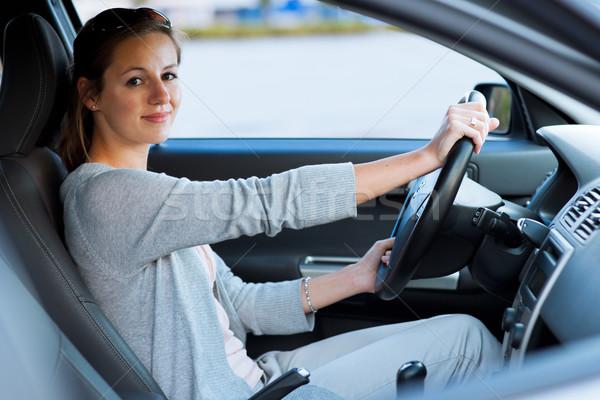 Bastante mulher jovem condução negócio estrada Foto stock © lightpoet