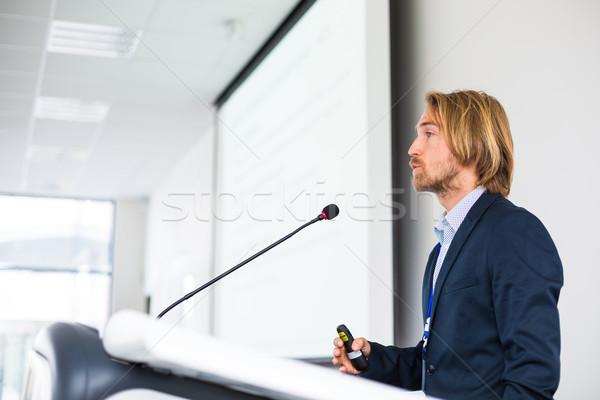 ハンサム 若い男 音声 会議 マイク スピーカー ストックフォト © lightpoet