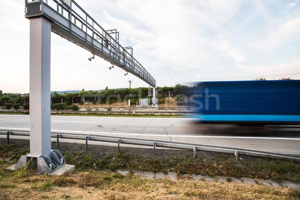トラック トール ゲート 道路 運動 ぼやけた ストックフォト © lightpoet