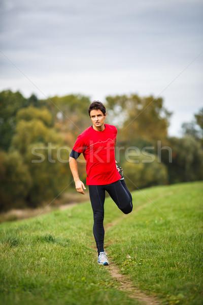 Moço pernas diariamente correr esportes Foto stock © lightpoet
