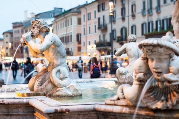 Northward view of the Piazza Navona with the fontana del Moro (t Stock photo © lightpoet