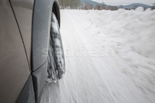 Car with winter tires on a slippery, snowy road - motion blur Stock photo © lightpoet