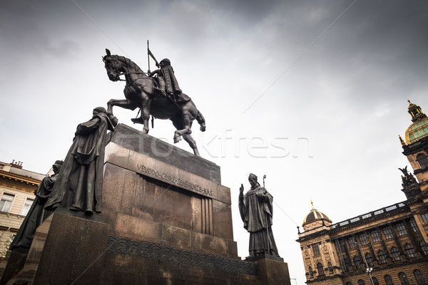 Prague, Wenceslas Square: view of the statue of St. Wenceslas Stock photo © lightpoet