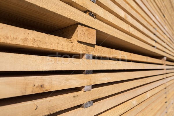 Stack of new wooden studs at the lumber yard Stock photo © lightpoet