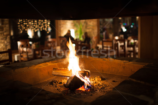 Cosy fireplace in a mountain chalet's warm, wooden interior Stock photo © lightpoet