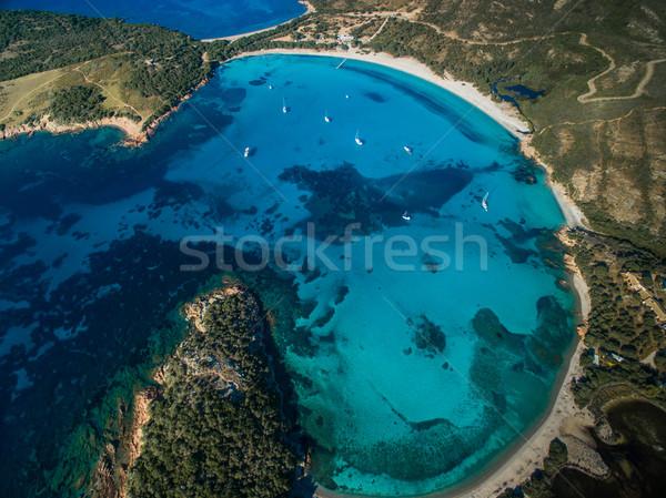 Aerial View of the Splendid Rondinara Beach, Corsica, France Stock photo © lightpoet
