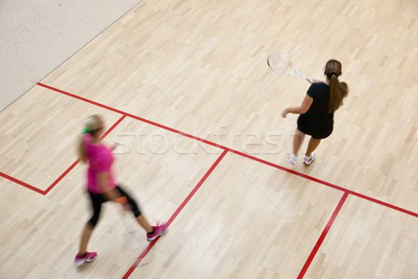 Foto stock: Dos · femenino · calabacín · jugadores · rápido · acción
