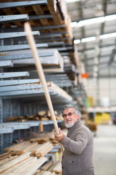 человека покупке строительство древесины Сток-фото © lightpoet