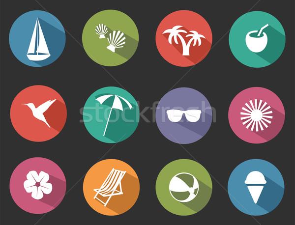 Tropical ícones verão gelo beber Foto stock © lilac