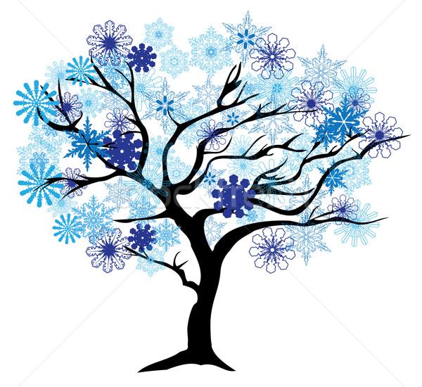 Inverno árvore flocos de neve abstrato natureza arte Foto stock © lilac