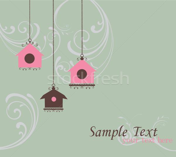 Stock fotó: Klasszikus · madár · ház · kártya · tavasz · levél