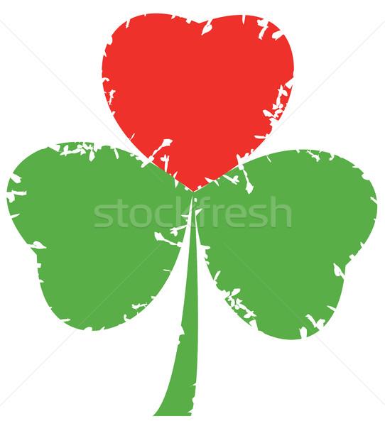 Shamrock grunge folha vermelho coração Foto stock © lilac