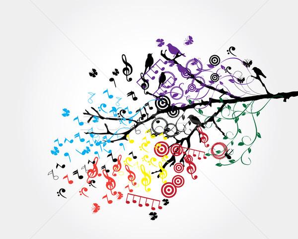 Musical drzewo wektora muzyki zauważa projektu tle Zdjęcia stock © lilac