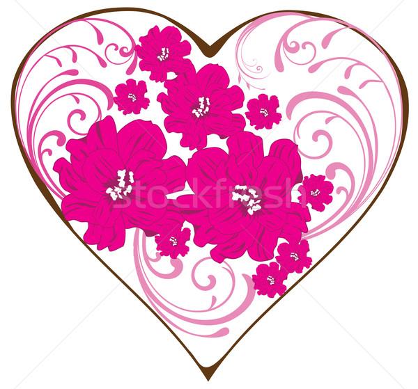 Floral coração dia dos namorados arte folhas ouro Foto stock © lilac