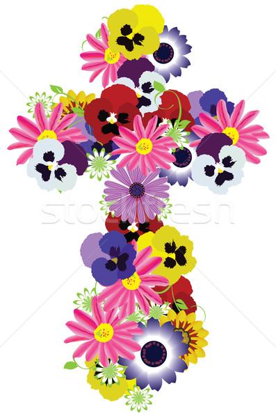 Vetor floral atravessar símbolo flor arte Foto stock © lilac