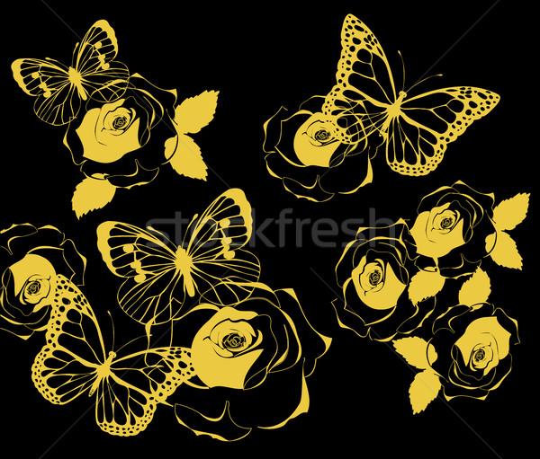 Dourado borboletas vintage rosas rosa parede Foto stock © lilac