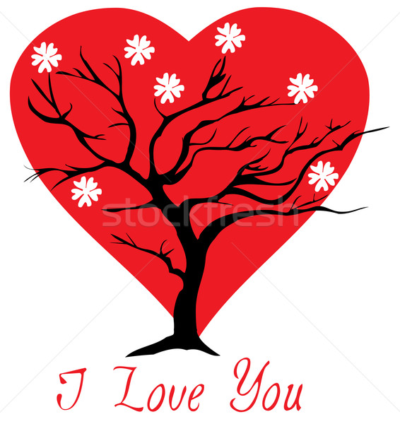 Valentine ağaç kalpler çiçek sevmek kalp Stok fotoğraf © lilac