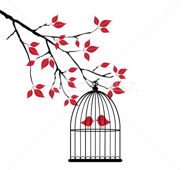 вектора дерево птиц дома природы Сток-фото © lilac