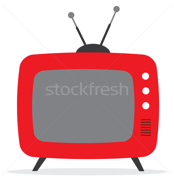 vector illustration of a retro tv with antenna flat icon Stock photo © lilac