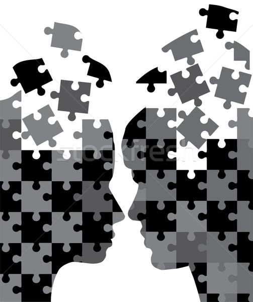 Zdjęcia stock: Człowiek · kobieta · głowie · sylwetki · twarz · miłości