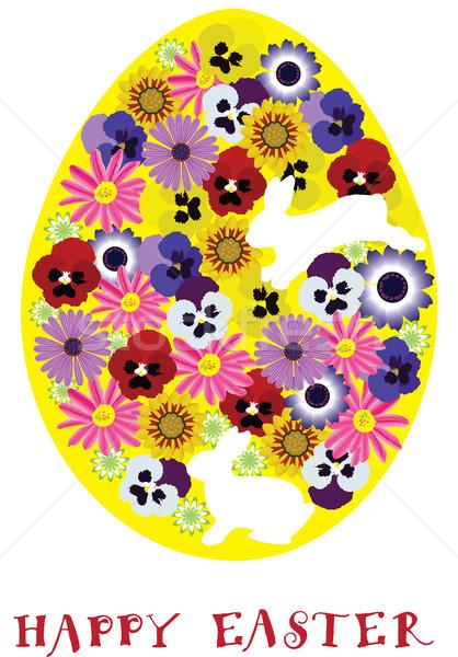 Photo stock: Vecteur · œuf · de · Pâques · floral · Pâques · nature · art