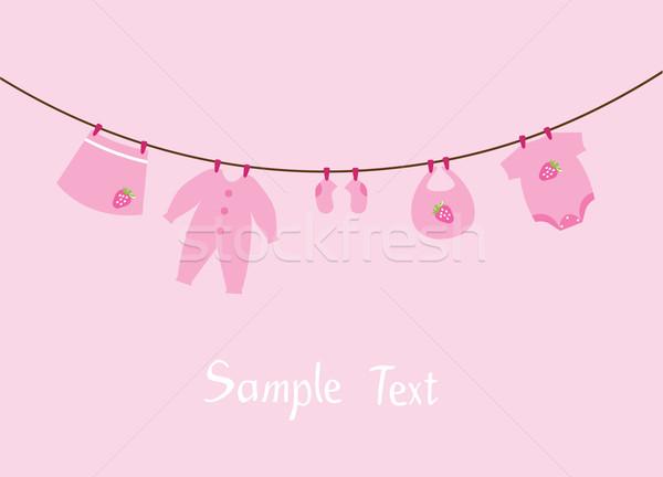 Bebek elbise davetiye duş kart çilek Stok fotoğraf © lilac