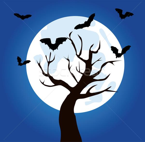 Foto stock: árvore · vetor · mão · sangue · noite · preto