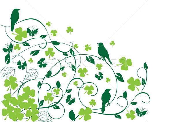 Shamrock madarak tavasz sör természet háttér Stock fotó © lilac