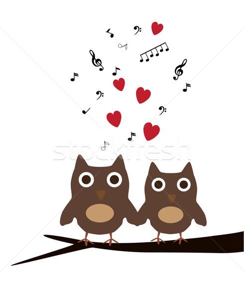 Baykuş aile vektör sevimli baykuşlar arka plan Stok fotoğraf © lilac