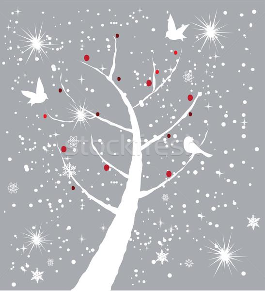 Stockfoto: Sneeuw · boom · vector · vogels · Rood · bessen