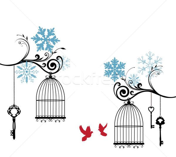 Gaiola vintage inverno cartão pássaro amor Foto stock © lilac