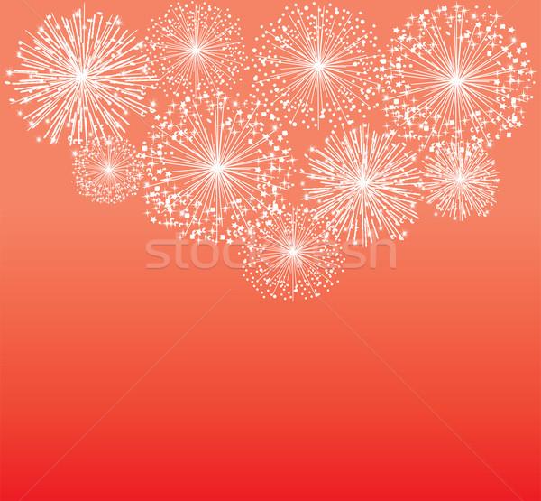 Havai fişek vektör beyaz kırmızı gökyüzü parti Stok fotoğraf © lilac
