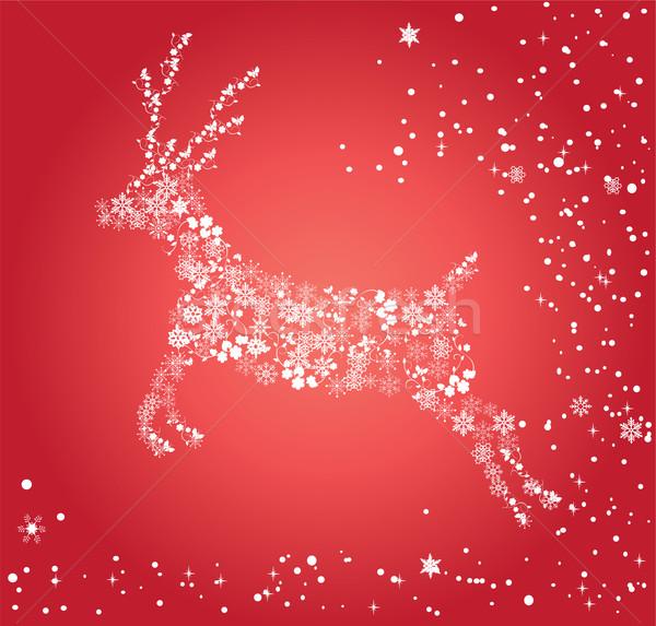 Sneeuw herten vector natuur verjaardag sterren Stockfoto © lilac