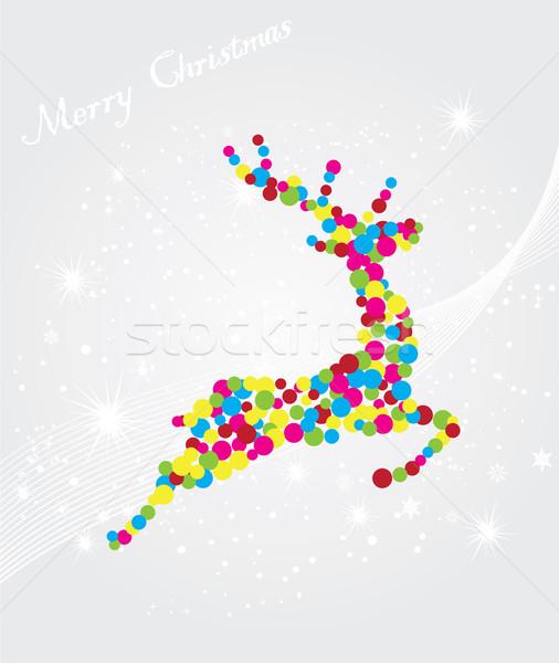 Ren geyiği Noel doğa kış yağ kart Stok fotoğraf © lilac