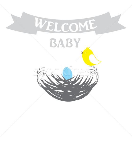 赤ちゃん シャワー カード 鳥の巣 少女 デザイン ストックフォト © lilac