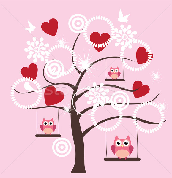 Stok fotoğraf: Valentine · ağaç · vektör · baykuşlar · kırmızı · kalpler