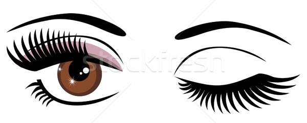 Ogen bruine ogen vrouw oog vrouwelijke Stockfoto © lilac