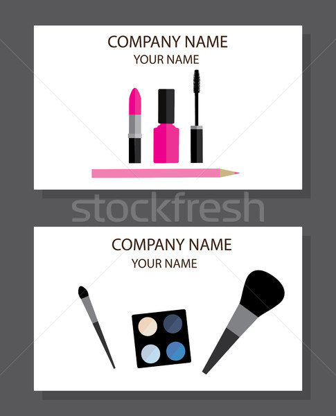 Vector Make Up Business Cards Stock photo © lilac
