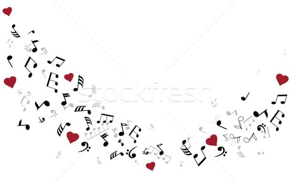 Stock fotó: Hangjegyek · szívek · számítógép · absztrakt · terv · művészet