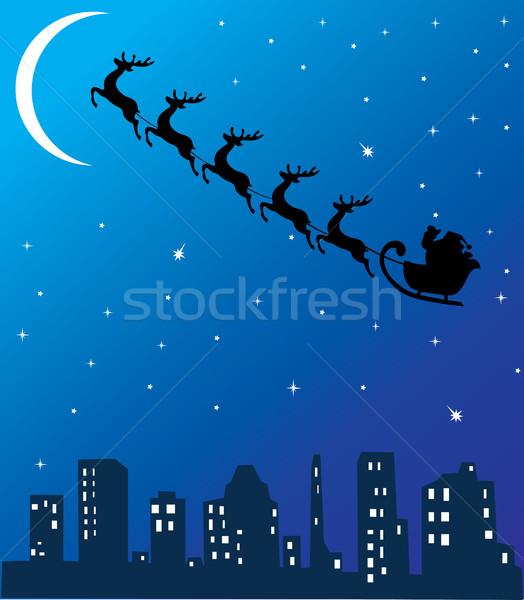 Vetor papai noel voador cidade natureza luz Foto stock © lilac