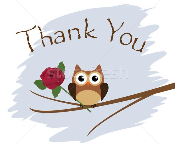 Teşekkür ederim vektör kart baykuş gül ağaç Stok fotoğraf © lilac