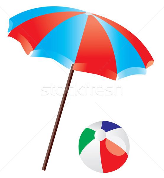 Guarda-sol vetor verão areia branco guarda-chuva Foto stock © lilac