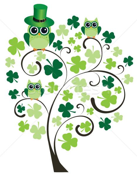Shamrock arbre hiboux printemps bière design Photo stock © lilac