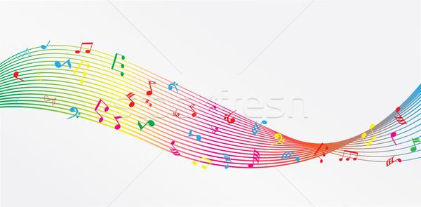 Foto stock: Notas · notas · musicais · computador · abstrato · projeto · arte