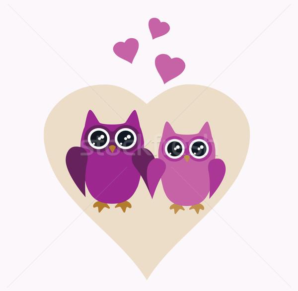 Baykuş valentine gün aile sevmek kalp Stok fotoğraf © lilac