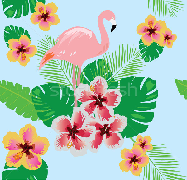 flamingo with flowers Stock photo © lilac