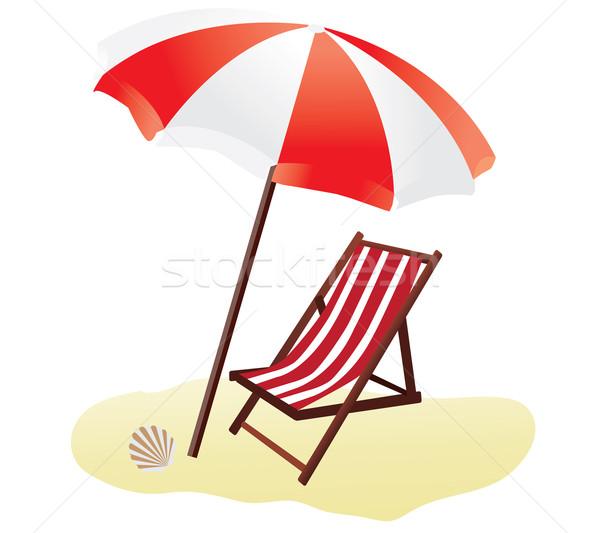 Parasol wektora lata piasku biały parasol Zdjęcia stock © lilac