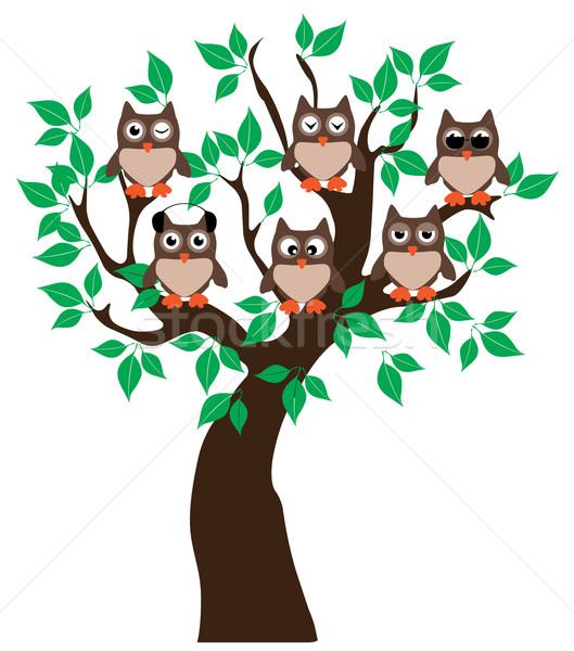 Baykuş ağaç vektör baykuşlar doğa sanat Stok fotoğraf © lilac