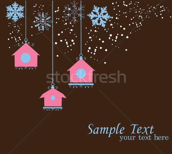 Vintage pássaro casa cartão casas flocos de neve Foto stock © lilac